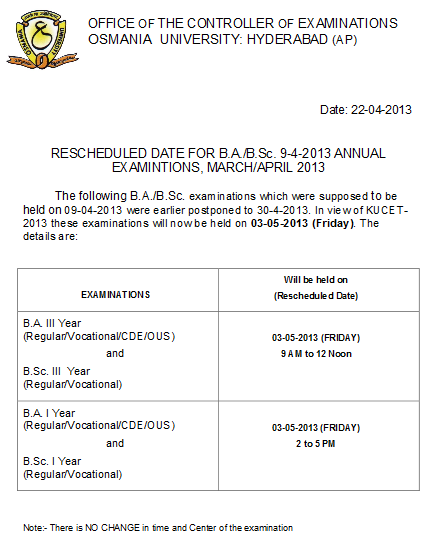 Osmania University OU Hyderabad, BA, BSC Rescheduled, Postponed Dates 2013