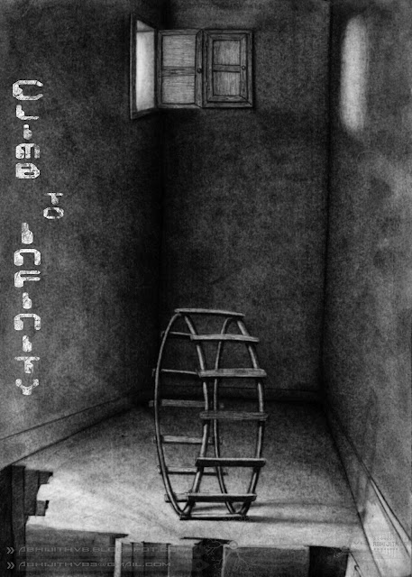 ladder room dark death only window art artist pencil drawing draw paper traditional surreal horror sadness sad pain agony love  death concept abhijithvb abhijith vb avb india kerala