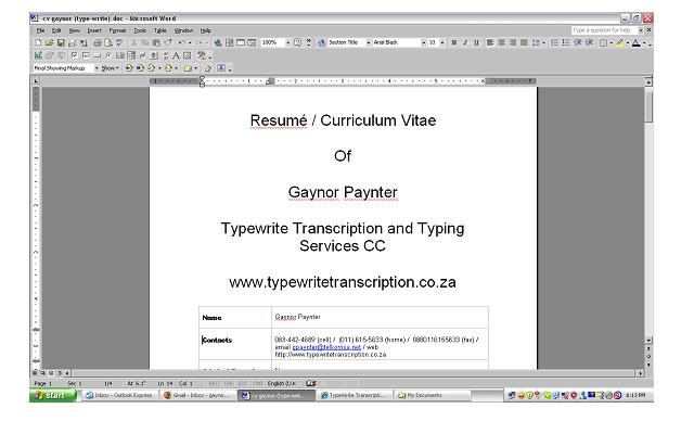 transcription and typing services johannesburg cv writing the