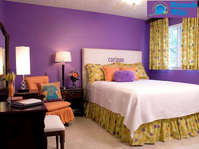 desain interior kamar tidur warna ungu
