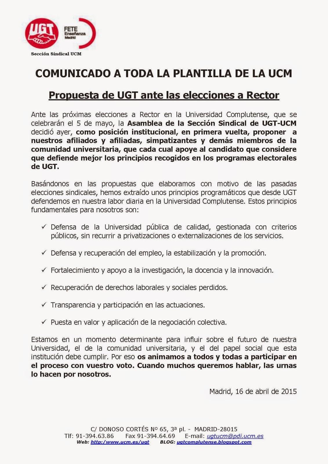Sección Sindical de UGT en la UCM: abril 2015