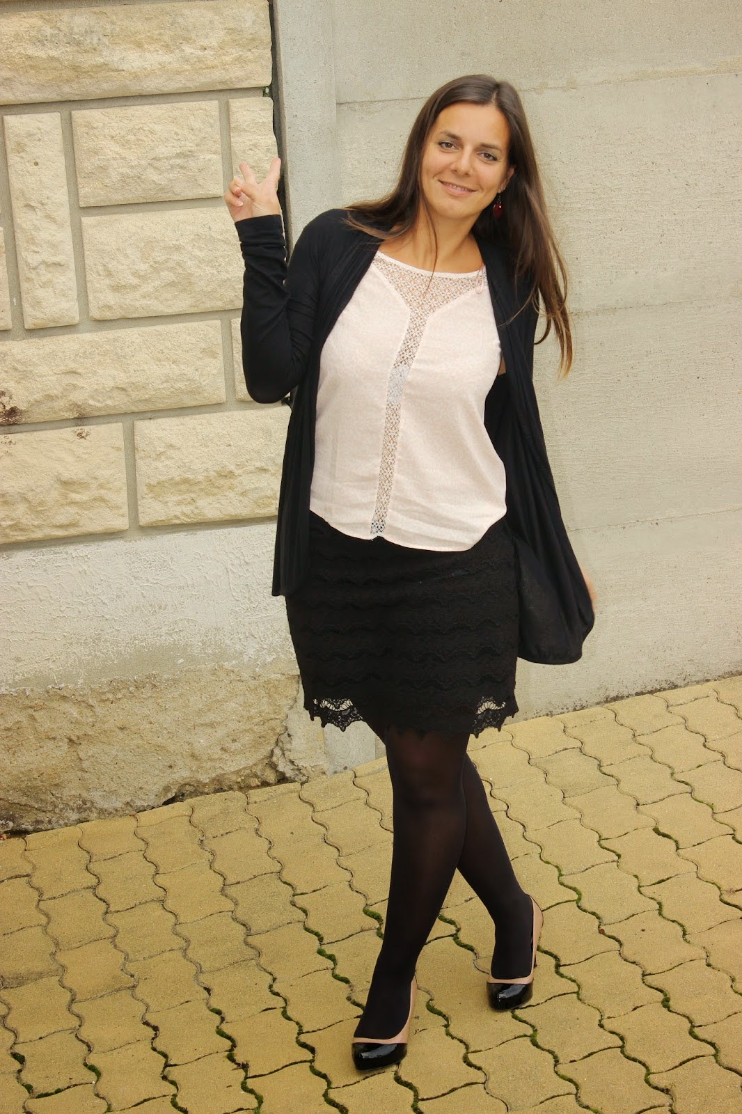 blouse leopard rose naf naf, jupe naf naf chaussures stylistpick