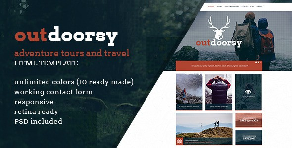 Outdoorsy Adventure Tours and Travel HTML Template