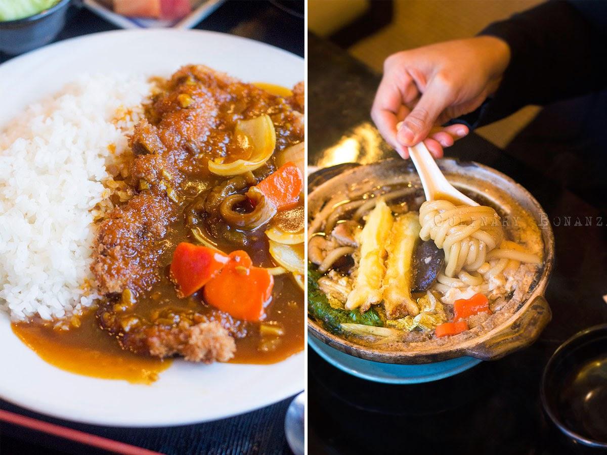 Left: Beef Katsu Curry Rice Teishoku | Right: Nabeyaki Udon