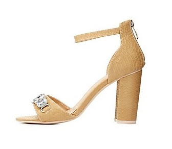 Charlotte Russe Nude Low Heeled Sandals