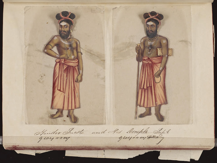 Hindoo priest and his pupil