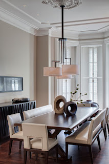 Unusual Ornament on the Wooden Dining Sets With Benches inside Dining Spade with Drum Pendants Chandelier