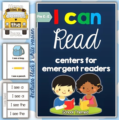 I can Read Emergent Center Activities, Readers, Mini Books, Strategy Posters, Cards and Printables - School Themed BUNDLE for Pre-K and Kindergarten students  This pack is full of school themed activities for children who are using basic sentence structures when learning to read.