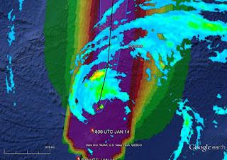 Imagem de satélite do furacão Alex