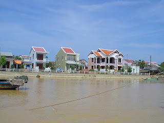 Houses along the Thu Bon River in Hoi An, Vietnam