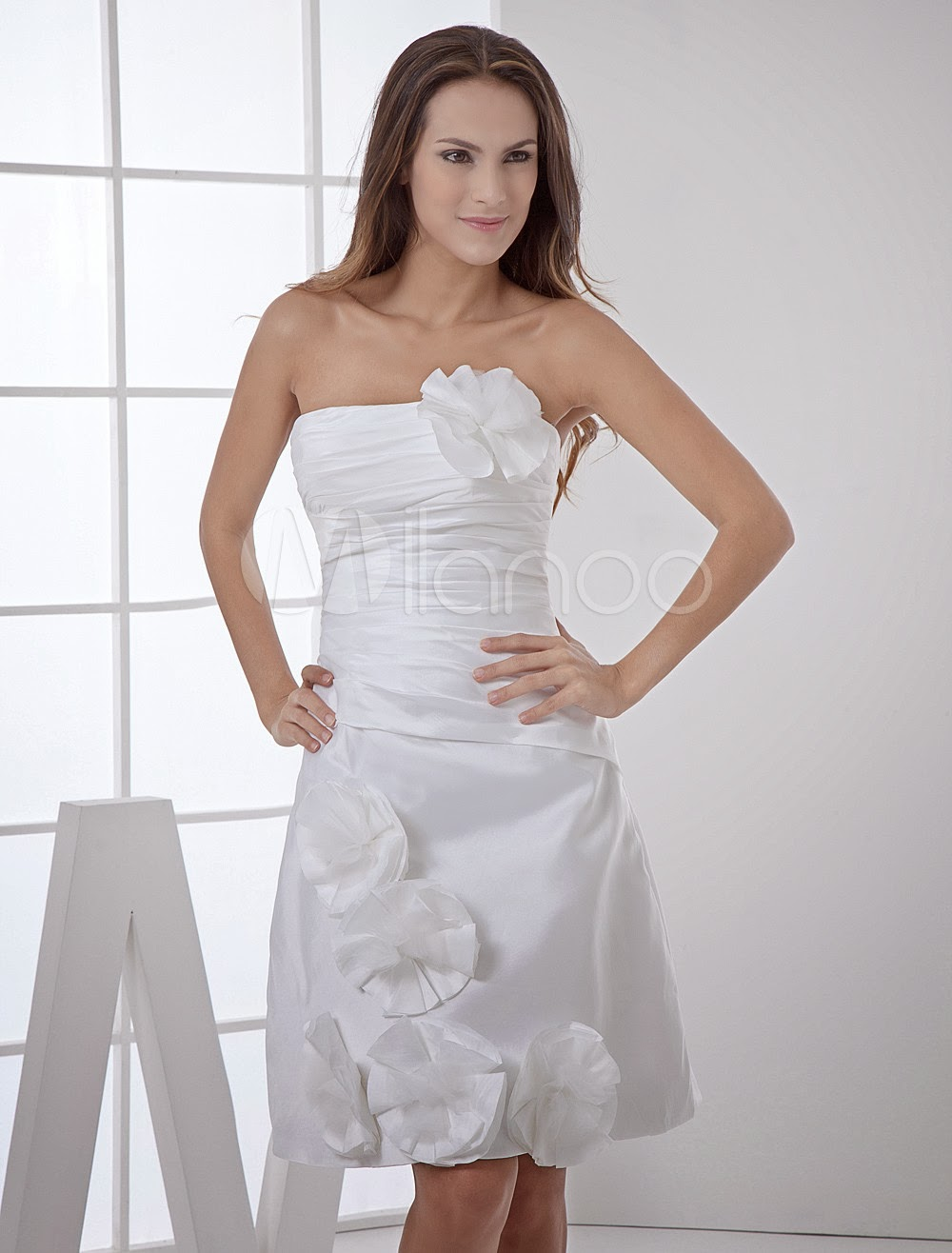 China Wholesale Dresses - Simple Strapless Pleated Taffeta Mini Wedding Dress