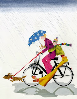 illustration by dutch born artist robert wagt of a couple on a solex in the rain