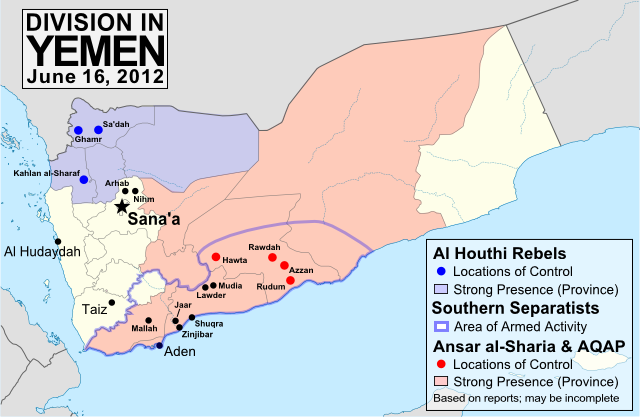 Map of division in Yemen, including control by Al Qaeda or Ansar al-Sharia, the Houthi rebels, and the Southern Movement. Update for June 2012.