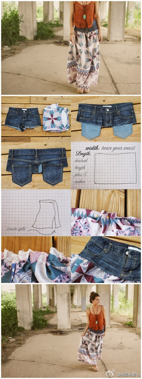 Transform your old shirt jeans into skirt