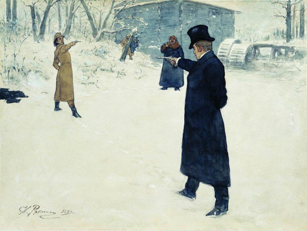 Two men duelling with pistols in the snow