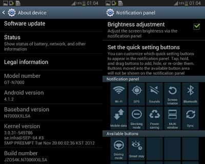 Este firmware es oficial y viene con interesantes mejoras, interfaz Samsung TouchWiz Nature UX, nueva barra de notificaciones, mayor fluidez y estabilidad, Google Now, teclado con funciones igual a la de Swype, si no deseas esperar a que llegue el aviso de actualización vía OTA o Kies, puedes instalarlo manualmente por Odin. Detalles del firmware oficial de Android 4.1.2 N7000XXLSZ: Novedades del Firmware Android 4.1.2 N7000XXLSZ: Project Butter para un mejor performance y estabilidad. Multi-View añadido, pudiéndose deshabilitar si se lo desea. Personalización de la Barra de Notificaciones. Nuevas adiciones a la Barra de Notificaciones. Smart Rotation para que la