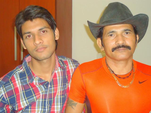 Anshu Dikshant with Bhojpuri Actor Chunnu Singapuri