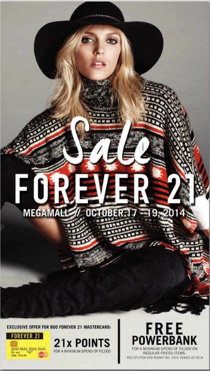 Forever 21 Mega SALE: at SM Megamall October 17-19, 2014