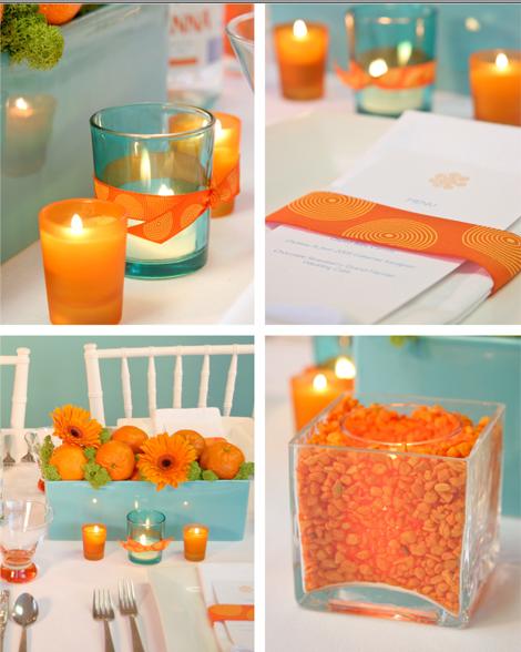 Colores para la mesa turquesa y naranja for Decoracion para pared naranja