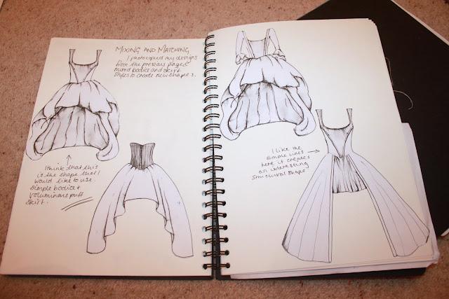 fashion illustration, costume history, 18th century, mullet hem, art foundation