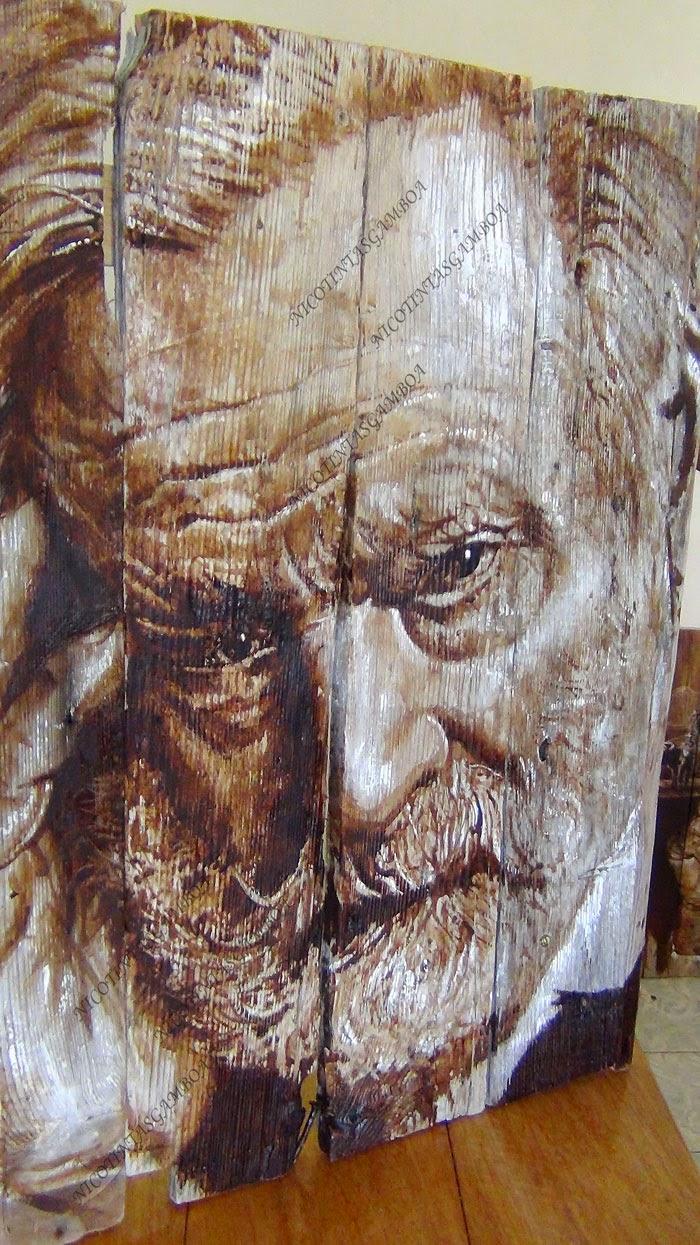 retrato de Victor Hugo, realizado con tintas de tabaco