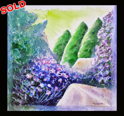 North East artist Ingrid Sylvestre Northeast art for sale Durham Artist Ingrid Sylvestre The Great Rock & Water Garden mixed media art for sale UK SOLD