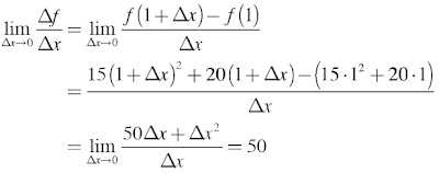 kecepatan sesaat pada x = 1