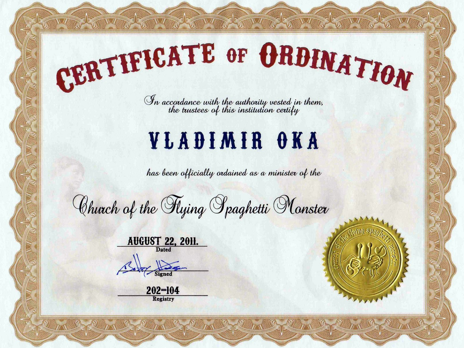 Certificate of ordination for minister search results calendar 2015 for Ordination certificate template