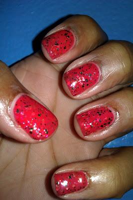 Glitter Sammy, red, nail art, mani