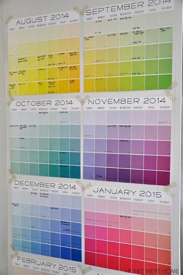Calendar For Home Organization : Organized paint chip wall calendar by honey we re home