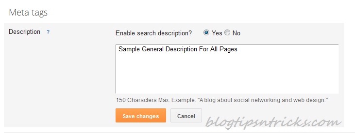 New Blogger SEO Search Preference Custom Meta Description