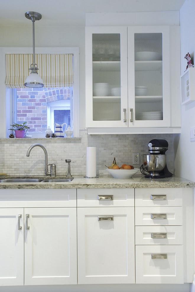 Rambling Renovators | white kitchen shaker cabinet ribbed glass