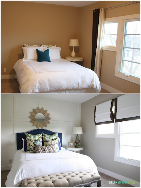 Before and After Neutral Guest Bedroom with a Blue Headboard