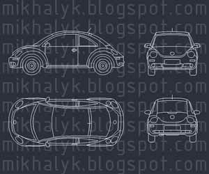Free AutoCAD Block Volkswagen Car Plan View
