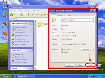 Learn how to hide files and folders in windowsXP step10