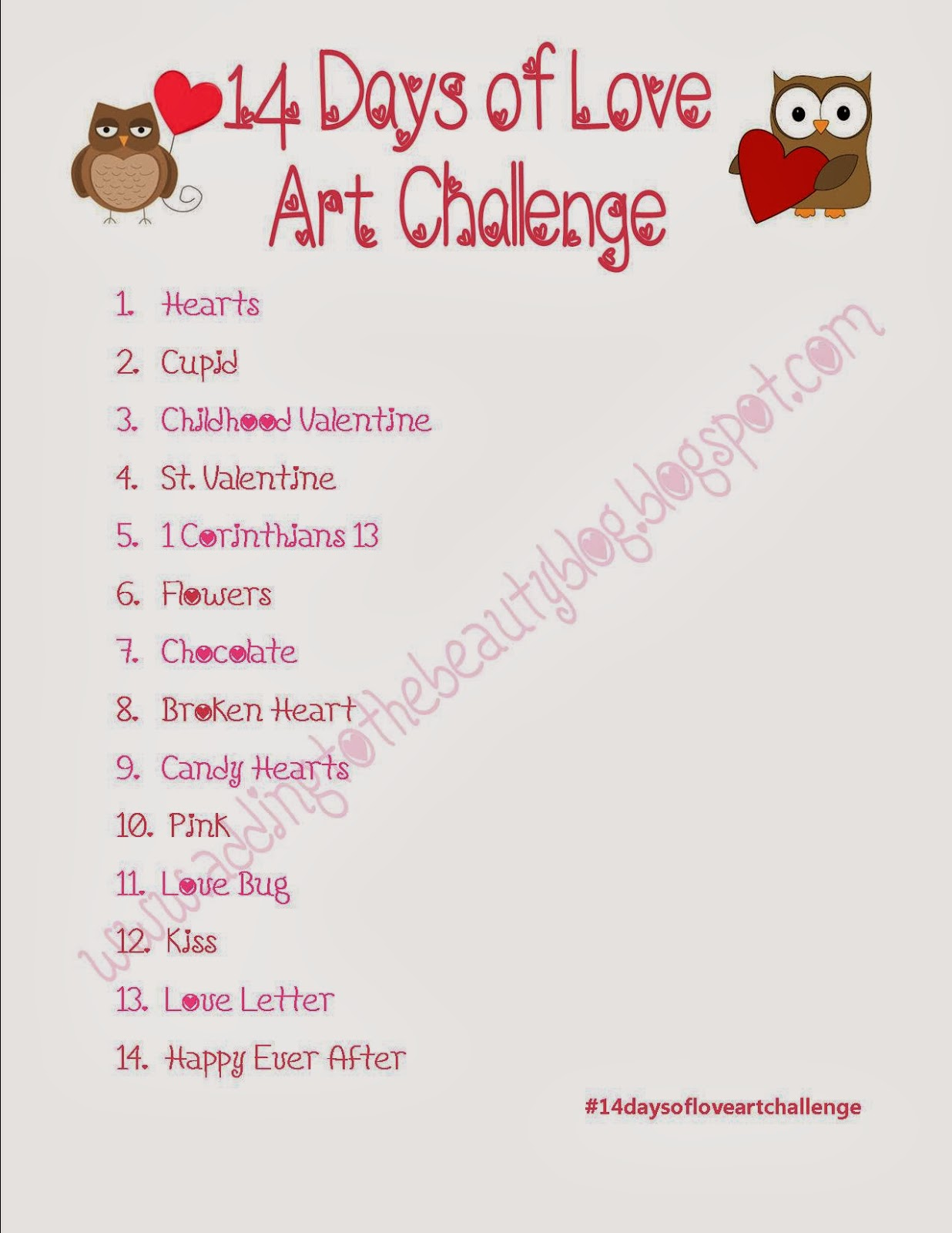 adding to the beauty: 14 Days of Love Art Challenge
