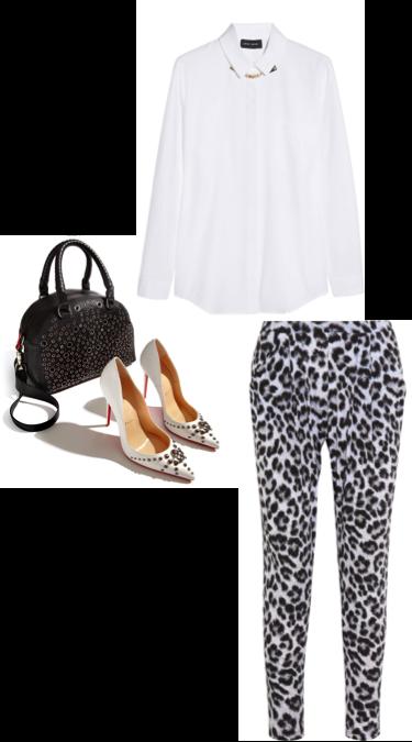 VipandSmart Look animal print con blusa blanca