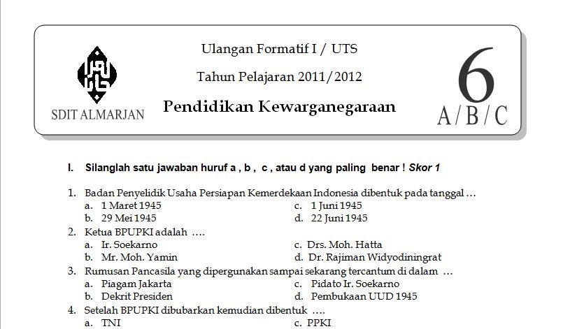 link download soal pkn kelas 6 sd uts semester 1 2011 2012 materi soal