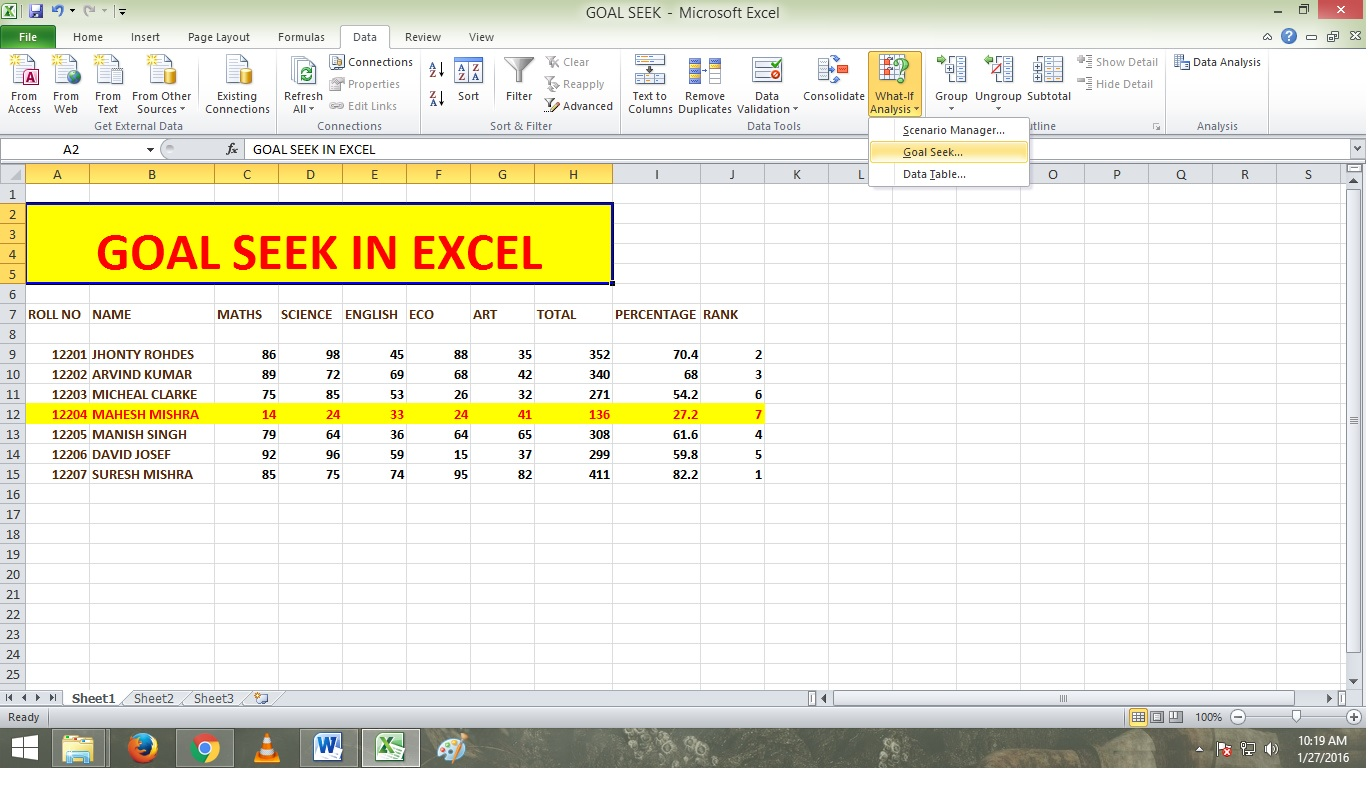 excel what if analysis data table  What If Analysis In Excel, And How Goal Seek,Data Table and Scenario ...