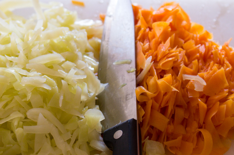 Chopped up cooked cabbage and carrot for pork mince dumplings | Svelte Salivations