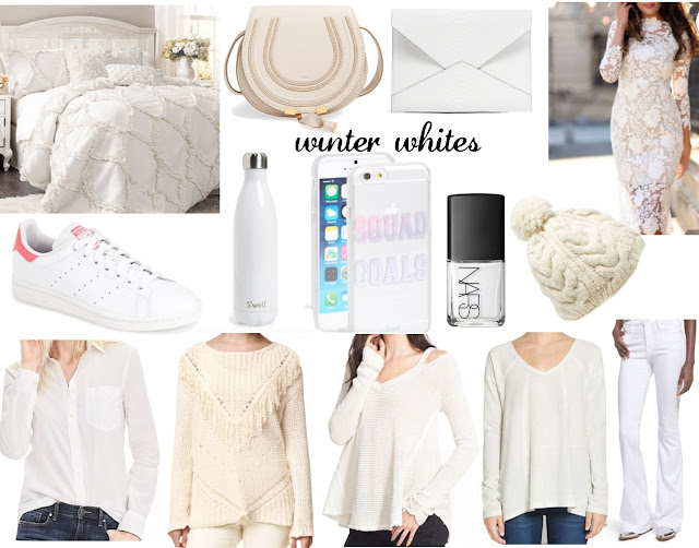 winter white fashion favorites home decor handbags lace dress flare jeans cold shoulder sweater