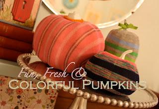 colorful, striped pumpkin decorations