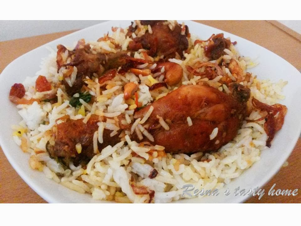 Resnas tasty home fried chicken biriyani thalassery biriyani fried chicken biriyani thalassery biriyani with stepwise picture ccuart Image collections