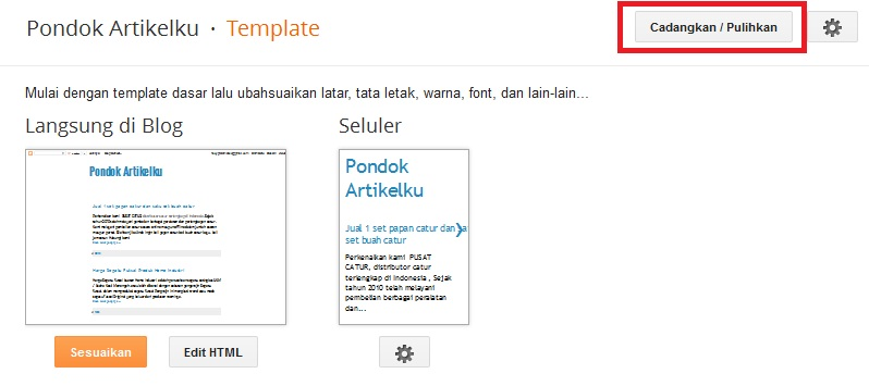 Upload template dengan menggunakan tombol cadangkan dan pulihkan