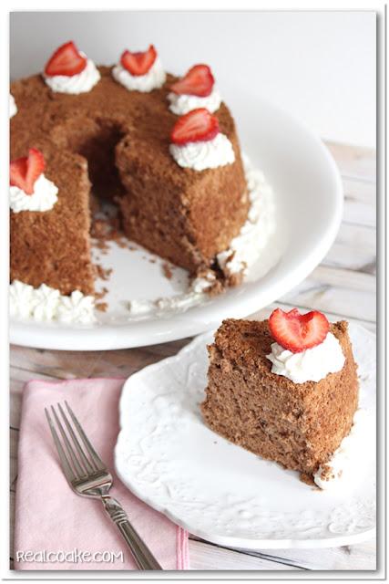 Angel Food Cake Recipe to make Chocolate Angel Cake from realcoake.com