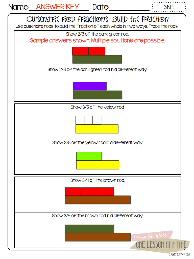 Printables Cuisenaire Rods Worksheets fraction printables circles cuisenaire rods and click here to download the rod answer keys are included
