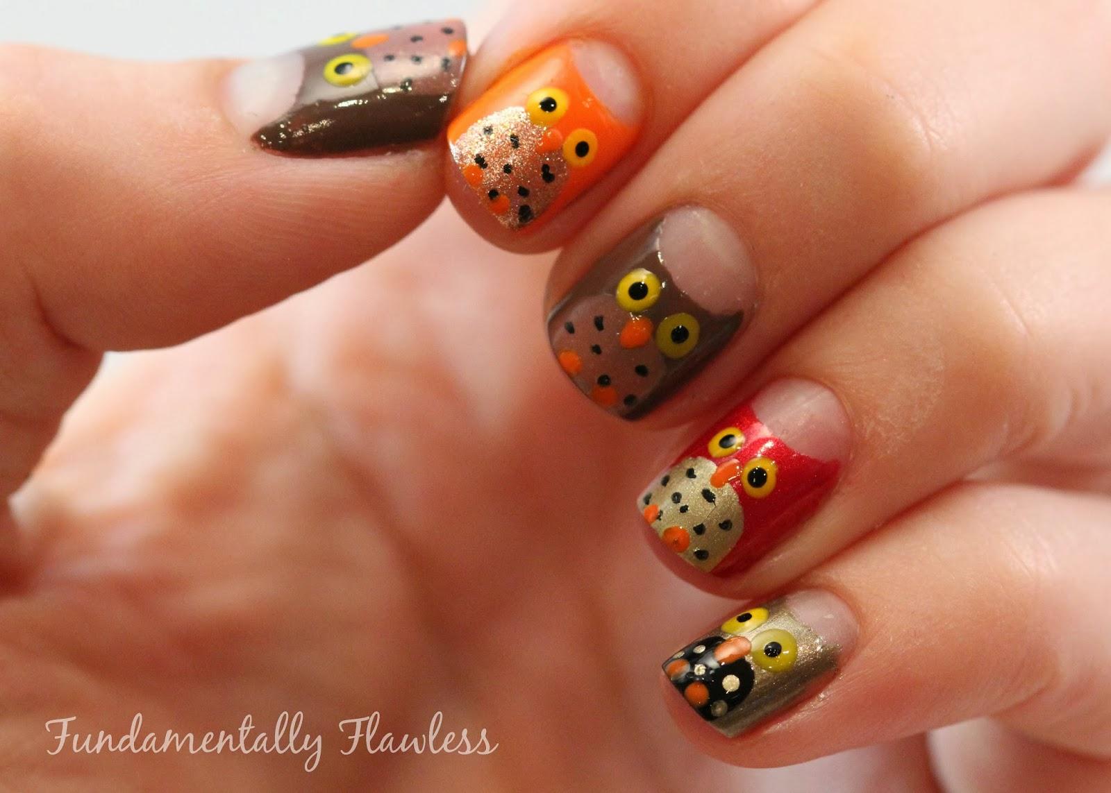 Exelent Fall Owl Nail Art Embellishment - Nail Art Ideas - morihati.com