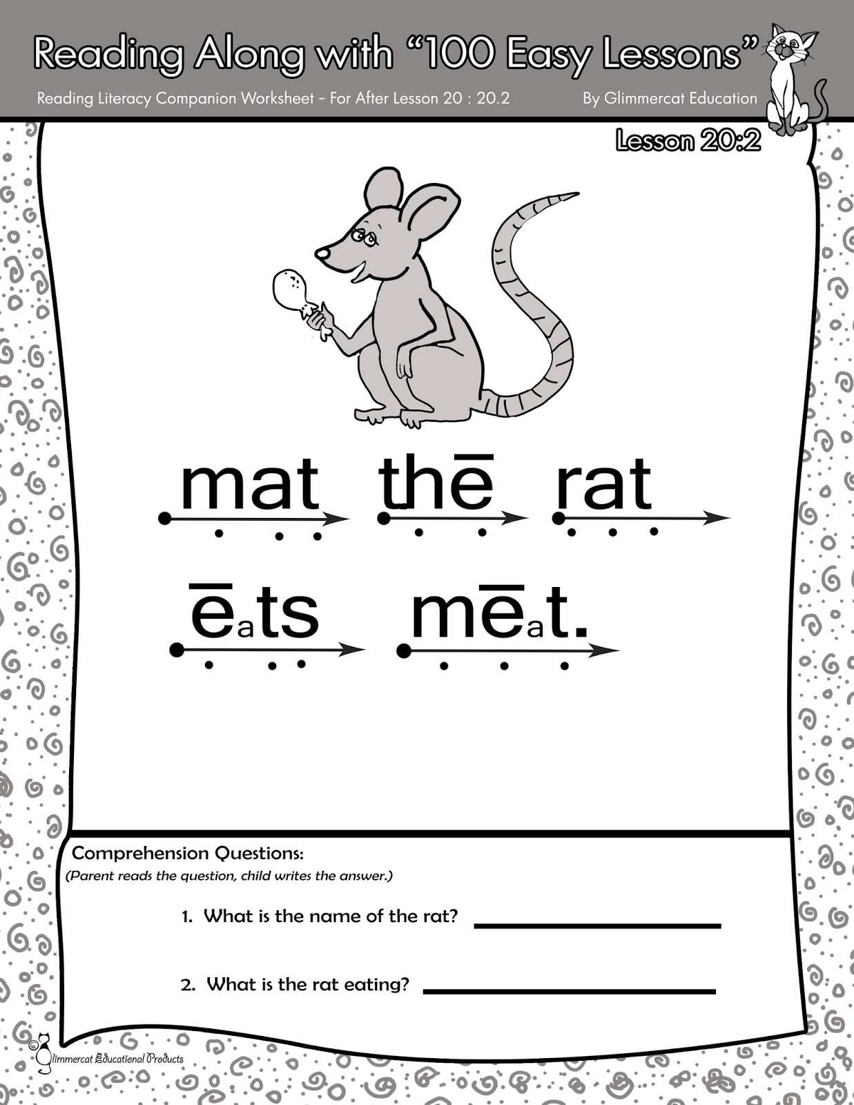 worksheet Teach Your Child To Read In 100 Easy Lessons Worksheets glimmercat supplemental activities for teach your child to read in if youre not exactly sure what looking at there that is a mat the rat craft from one of my freebie reading stories