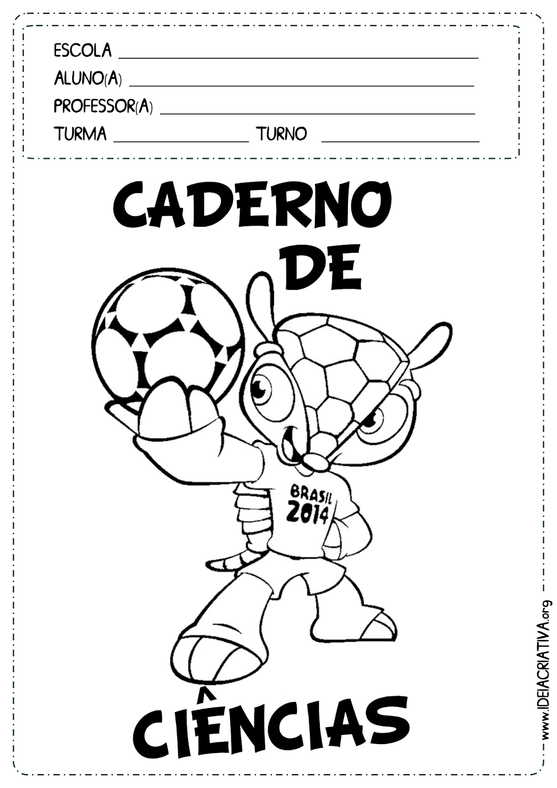 Capas de Caderno Copa do Mundo para Colorir Fundamental I