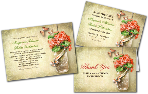 Mason Jar & Coral Flowers Rustic Wedding Invites